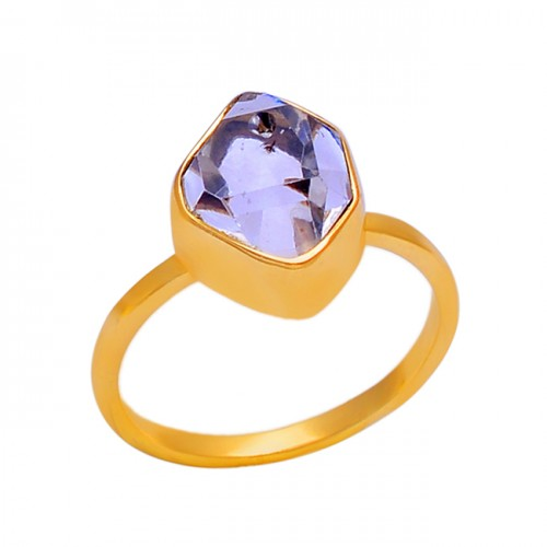 925 Sterling Silver Crystal Quartz Gemstone Gold Plated Jewelry Ring