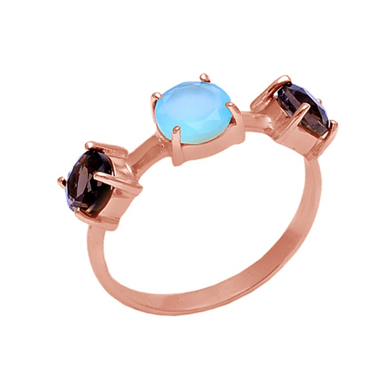 Prong Setting Chalcedony Smoky Quartz Gemstone 925 Silver Jewelry Ring