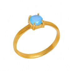 Round Aqua Chalcedony Gemstone 925 Sterling Silver Gold Plated Ring