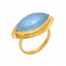 Marquise Shape Aquamarine Gemstone 925 Silver Gold Plated Jewelry Ring