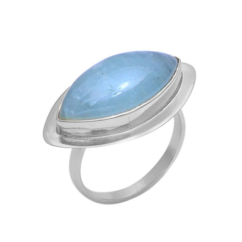 Marquise Shape Aquamarine Gemstone 925 Silver Gold Plated Jewelry Ring