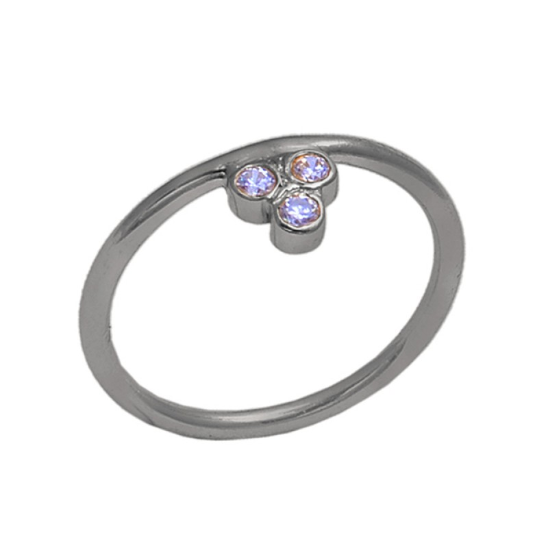 Round Tanzanite Gemstone 925 Sterling Silver Gold Plated Handmade Ring