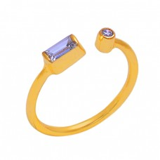 925 Sterling Silver Tanzanite Gemstone Gold Plated Designer Ring