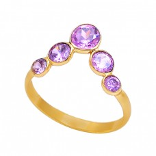 Round Shape Amethyst Gemstone 925 Sterling Silver Handmade Ring Jewelry