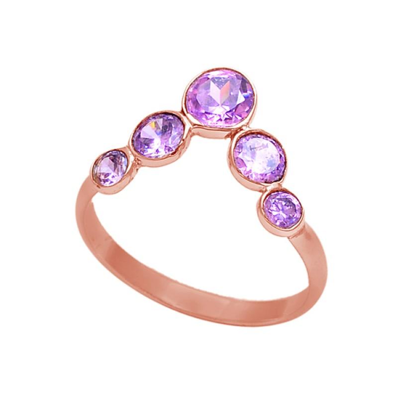 Round Shape Amethyst Gemstone 925 Sterling Silver Handmade Ring Jewelry
