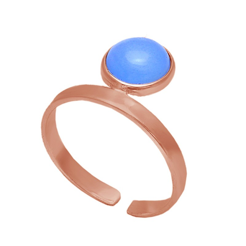 Round Blue Chalcedony Gemstone 925 Sterling Silver Gold Plated Jewelry Ring
