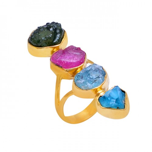 925 Sterling Silver Jewelry Rough Gemstone Gold Plated Wholesale Ring