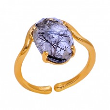 Oval Shape Black Rutile Quartz Gemstone 925 Silver Jewelry Ring