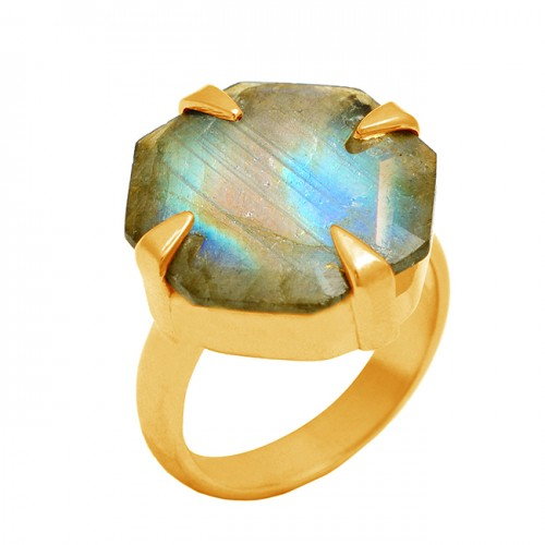 Hexagon shape Labradorite Gemstone 925 Sterling Silver Gold Plated Handmade Ring Jewelry