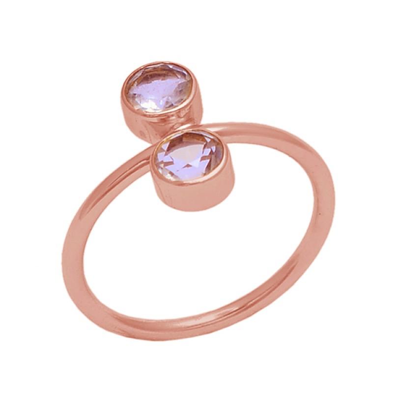 Round Shape Green Amethyst Gemstone 925 Silver Jewelry Handmade Ring