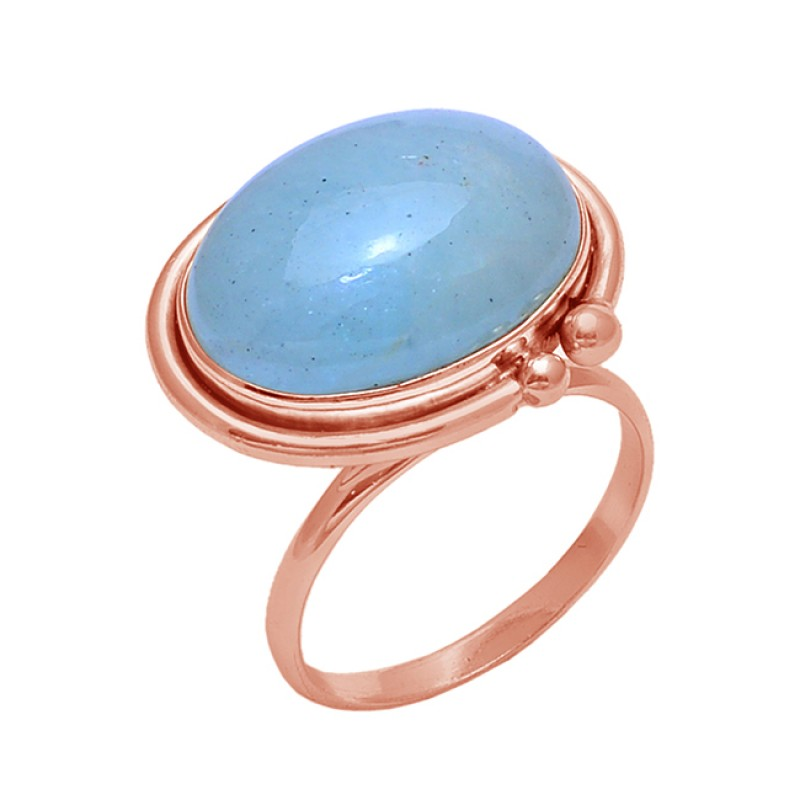 Cabochon Oval Aquamarine Gemstone 925 Sterling Silver Jewelry Wholesale Ring