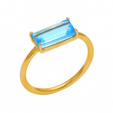 Rectangle Shape Blue Topaz Gemstone 925 Silver Jewelry Prong Set Ring