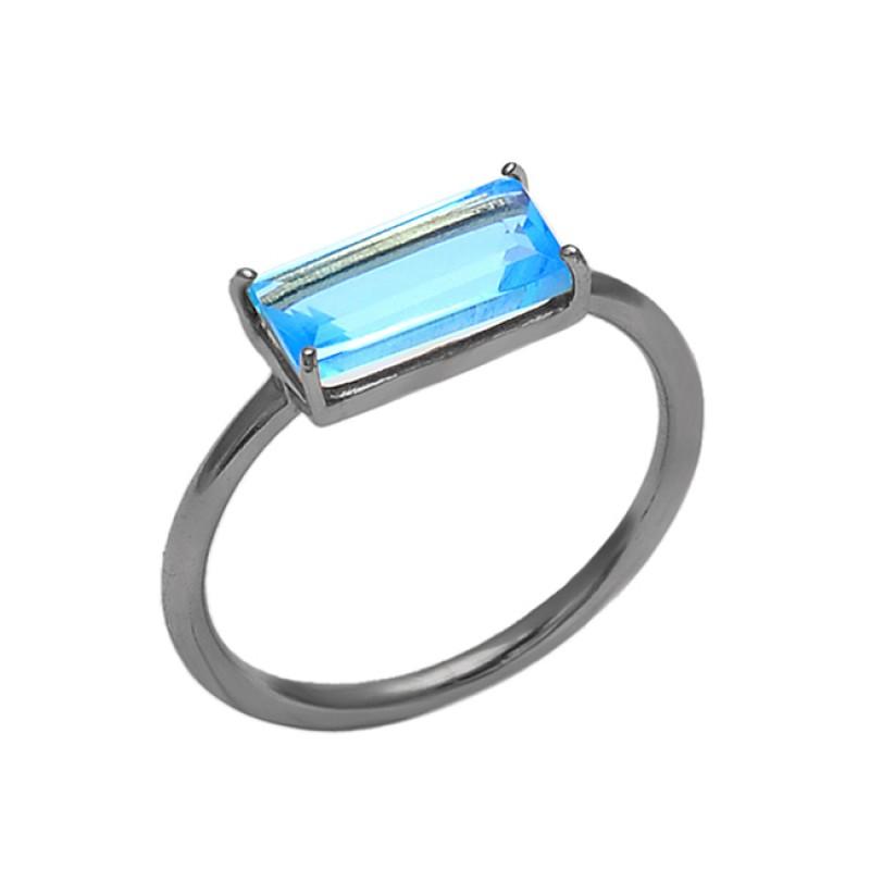 Rectangle Shape Blue Topaz Gemstone 925 Silver Jewelry Prong Set Ring