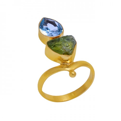 925 Sterling Silver Jewelry Peridot Topaz Gemstone Gold Plated Wholesale Ring
