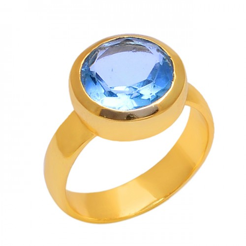 Faceted Round Blue Topaz Gemstone 925 Sterling Silver Jewelry Ring
