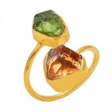 Raw Material Peridot Citrine Gemstone 925 Silver Jewelry Handmade Ring