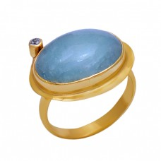 925 Sterling Silver Jewelry Aquamarine Cz Gemstone Gold Plated Ring