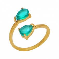 Prong Set Pear Apatite Gemstone 925 Sterling Silver Jewelry Gold Plated Ring