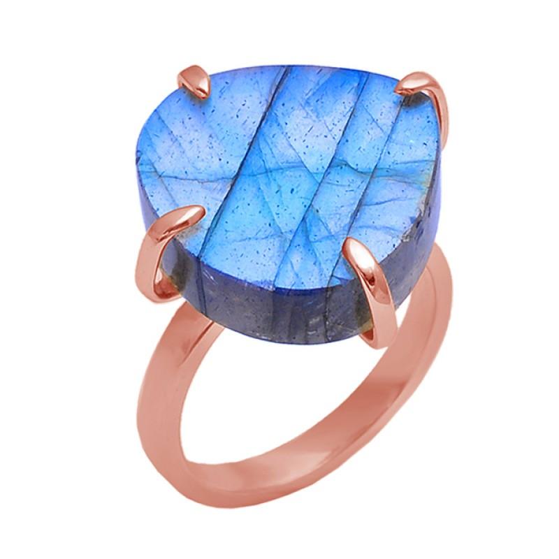 Heart Shape Labradorite Gemstone 925 Sterling Silver Jewelry Prong Set Ring