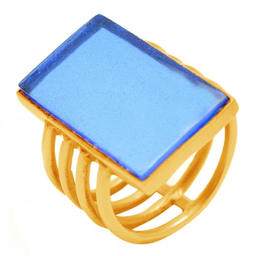 Rectangle Shape Blue Quartz Gemstone 925 Sterling Silver Gold Plated Ring Jewelry