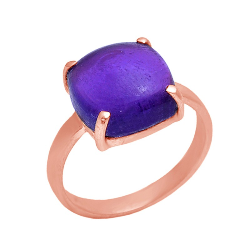 Prong Set Square Shape Amethyst Gemstone 925 Sterling Silver Jewelry Ring