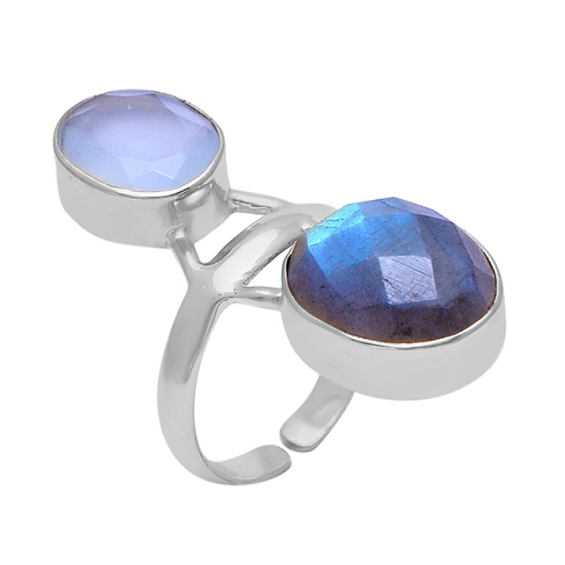 Oval Shape Labradorite Chalcedony Gemstone 925 Silver Jewelry Ring