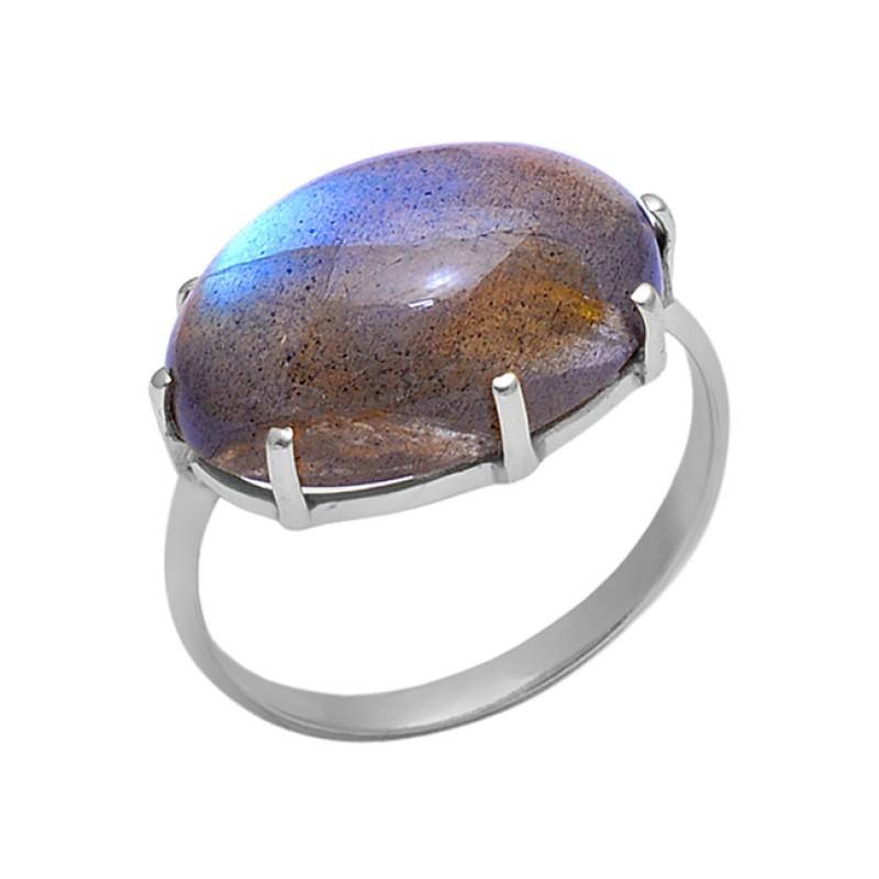 925 Sterling Silver Jewelry Oval Prong Set Labradorite Gemstone Wholesale Ring