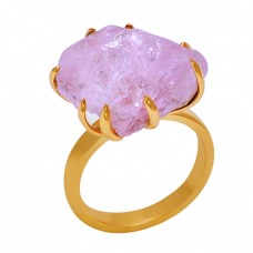 Raw Material Rose Chalcedony Gemstone 925 Sterling Silver Jewelry Ring