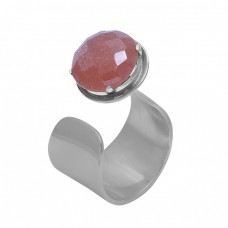Round Peach Moonstone 925 Sterling Silver Jewelry Gold Plated Ring Suppliers