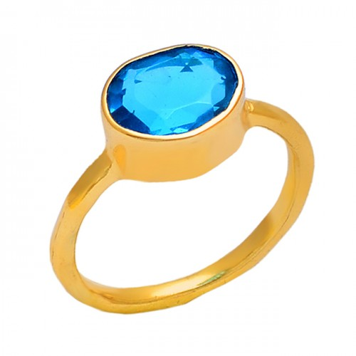 Round Shape Blue Quartz Gemstone 925 Sterling Silver Jewelry Gold Plated Ring