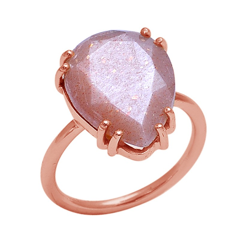 Pear Peach Moonstone 925 Sterling Silver Jewelry Gold Plated Ring Suppliers