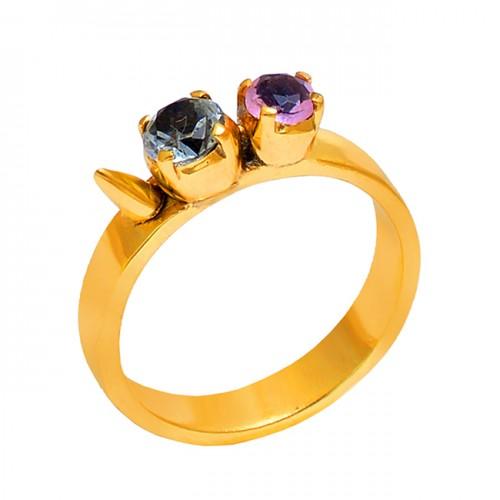 Round Shape Pink Blue Quartz Gemstone 925 Silver Jewelry Wholesale Ring