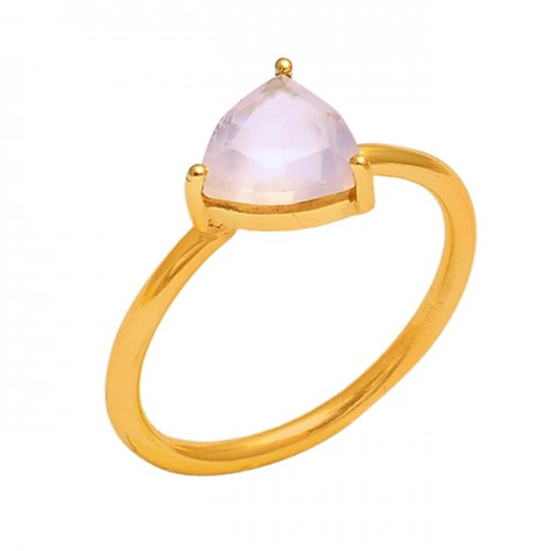 Triangle Shape Rose Chalcedony Gemstone 925 Silver Jewelry Gold Plated Ring