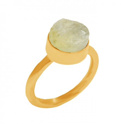 Aquamarine Rough Gemstone 925 Sterling Silver Gold Plated Ring Jewelry