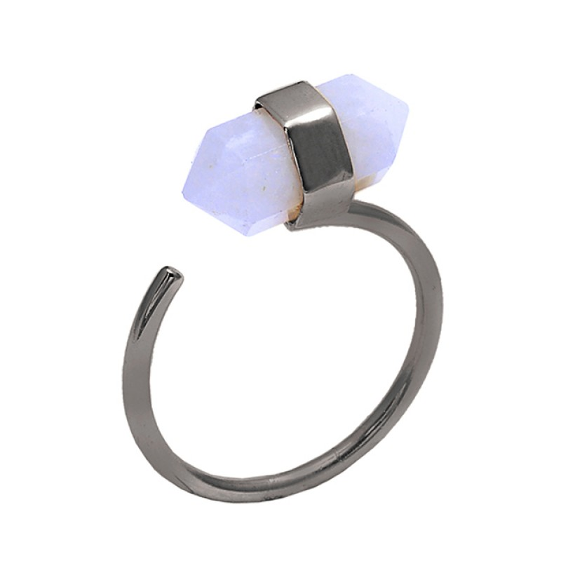 Pencil Shape Rainbow Moonstone 925 Sterling Silver Jewelry Gold Plated Ring