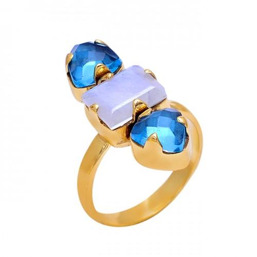 Rainbow Moonstone Blue Quartz Gemstone 925 Silver Jewelry Prong Set Ring
