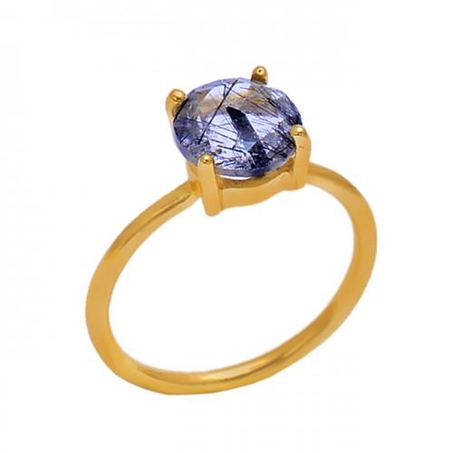 Prong Setting Black Rutile Quartz Gemstone 925 Silver Jewelry Gold Plated Ring