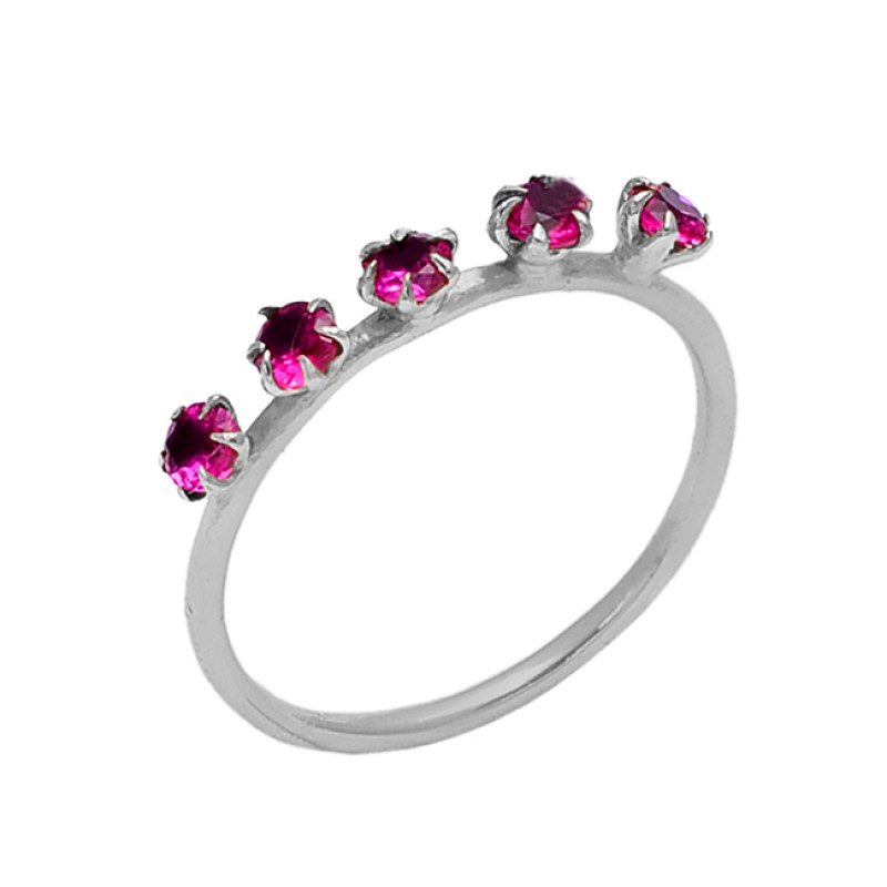 925 Sterling Silver Jewelry Pink Quartz Round Prong Setting Gold Plated Ring