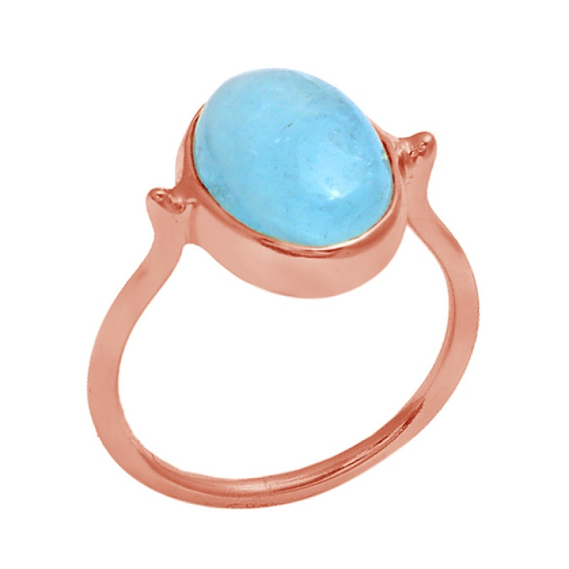 Cabochon Oval Shape Aquamarine Gemstone 925 Silver Jewelry Gold Plated Ring
