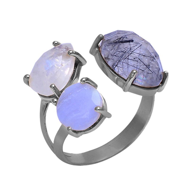 Prong Setting Moonstone Rutile Quartz 925 Sterling Silver Jewelry Wholesale Ring