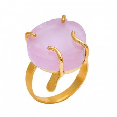 Fancy Shape Rose Chalcedony Gemstone 925 Silver Jewelry Gold Plated Ring