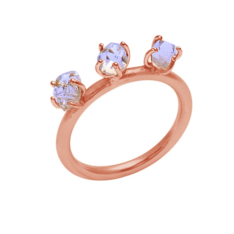 Crystal Quartz Gemstone 925 Sterling Silver Jewelry Prong Setting Ring