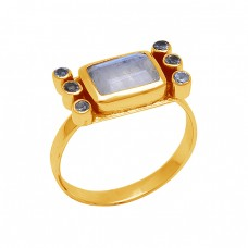 925 Sterling Silver Jewelry Gemstone Gold Plated Handmade Designer Ring