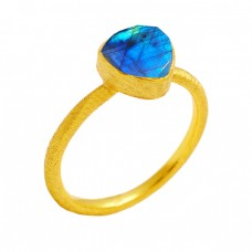 Triangle Shape Labradorite Gemstone 925 Sterling Silver Gold Plated Ring Jewelry