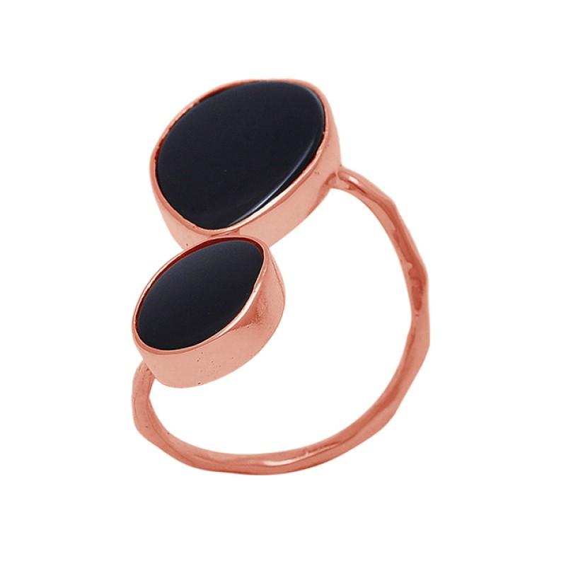 Black Onyx Gemstone 925 Sterling Silver Jewelry Gold Plated Band Designer Ring