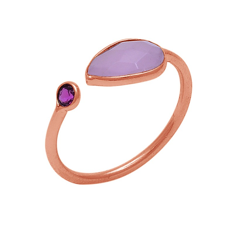 Bezel Setting Rose Chalcedony Pink Quartz Gemstone 925 Silver Ring Jewelry