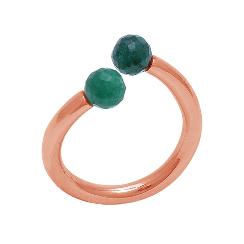 Round Balls Shape Emerald Gemstone 925 Sterling Silver Jewelry Gold Plated Ring