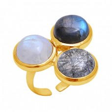 Round Shape Gemstone 925 Sterling Silver Jewelry Gold Plated Designer Ring