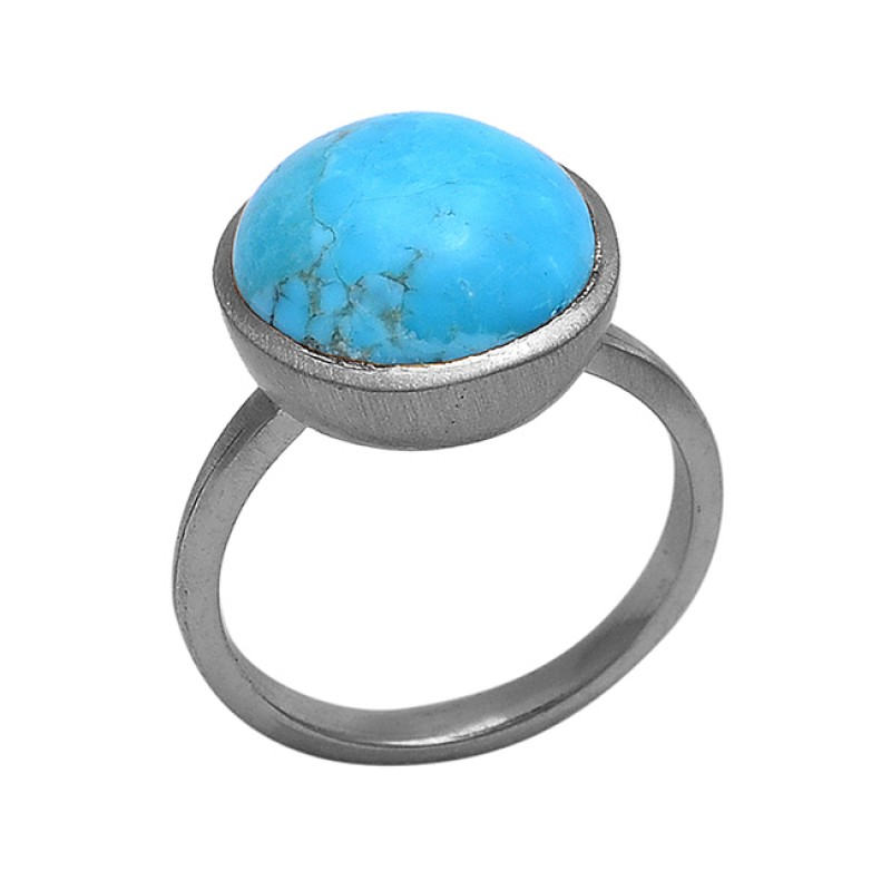 Round Shape Turquoise Gemstone 925 Silver Jewelry Gold Plated Ring