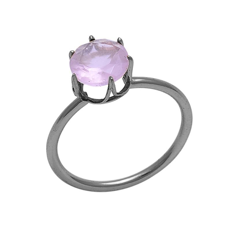 Round Shape Rose Quartz Gemstone 925 Sterling Silver Jewelry Prong Set Ring